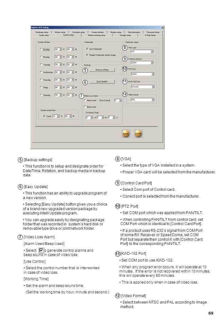 8 9 10 5 6 5 8 9 6 10 7 11 [VGA] [Backup settings]